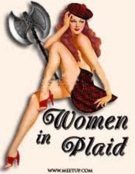 Woman in plaid logo